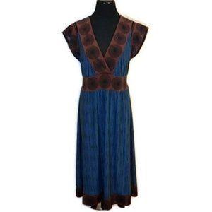 BCBG Blue Brown Plunge Neck Midi Dress
